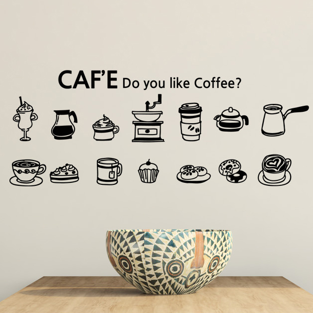 DCTAL Cafe Vinyl Wall Decal Coffee Cake Cup Coffee Sign ...