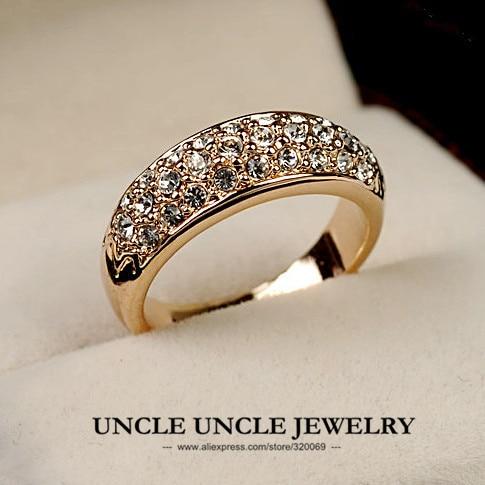 Cor de rosa de Ouro Clássico 3 Linhas Pedrinhas Definir Trendsetter Moda Mulher Anel de Dedo Por Atacado