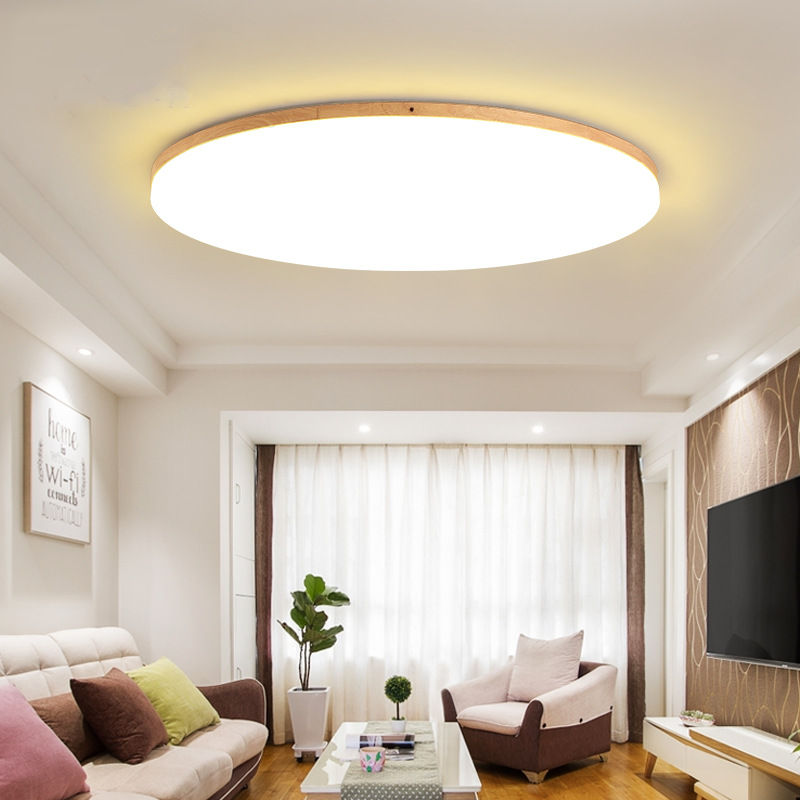 New Creative Wood LED Ceiling Lamp Nordic Simplicity Modernity Style Ultrathin Log Acrylic lED Bedroom Lamp  living Room Light|Ceiling Lights| |  - title=