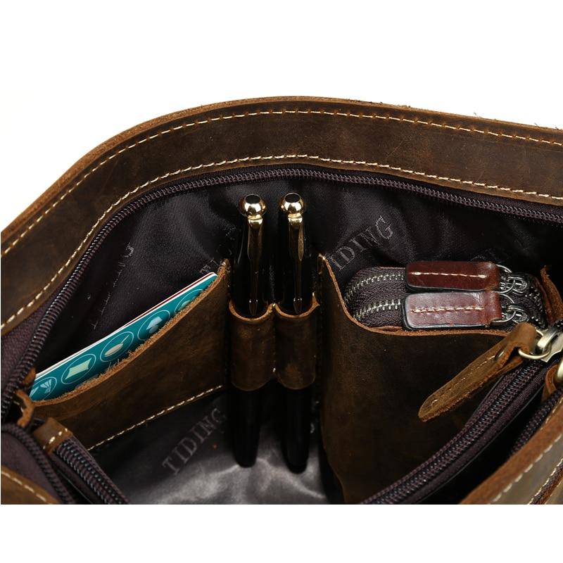 TIDING Luxury Cowhide Men Clutch Bag Äkta Läder Män Väska - Plånböcker - Foto 5