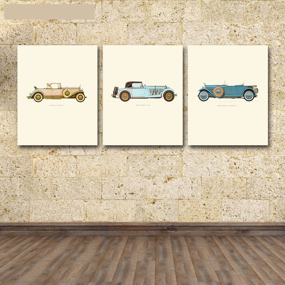 3 panel poster board designs - 3 Panel Nordic Classic Cars Wall Pictures Canvas Painting Wall Painting Art Printed Poster Living Room