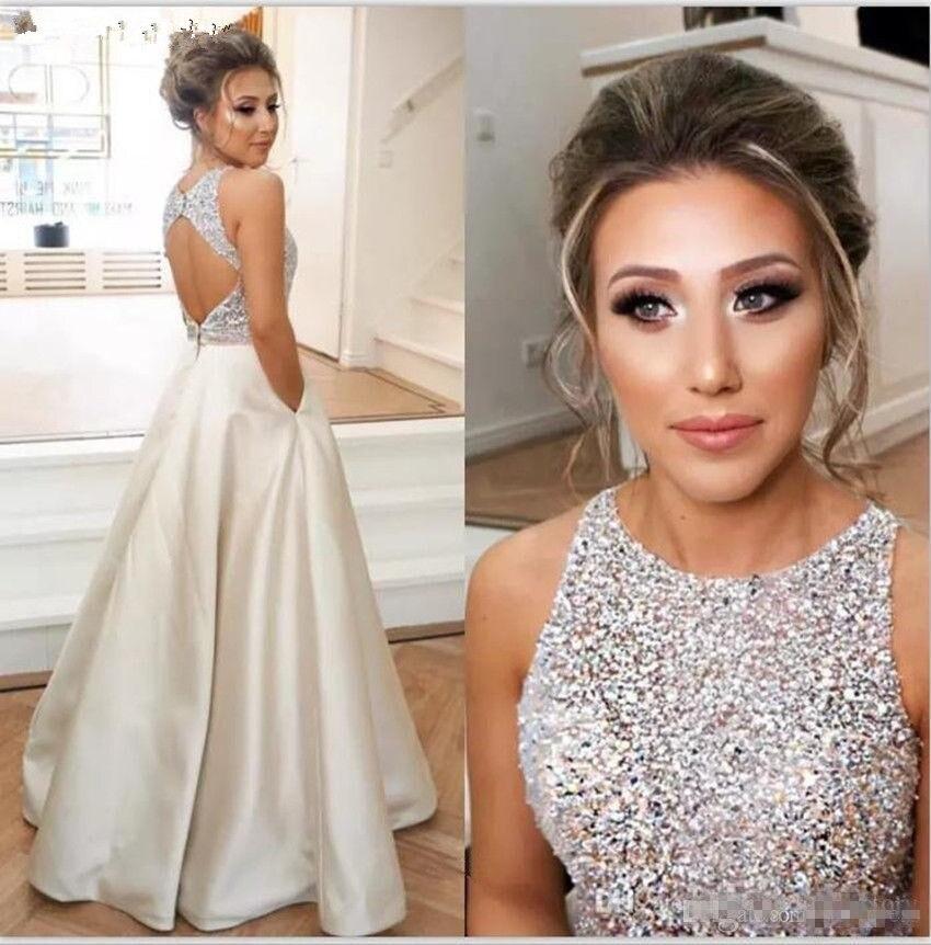 2019 Sexy Kristalle Graduation Kleid Mädchen Satin Bodenlangen 8th Grade Prom Homecoming Kleider Gala Datum Kleid Mit Taschen