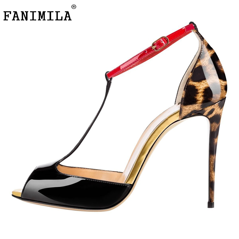 Women Patent Leather High Heel Sandals Peep Toe T-Strap Sexy Heels Sandalias Lady Party Wedding Shoes Footwear Size 35-46 B256 women brands shoes evening high heels black patent leather sandals open toe thin heel sexy party shoes new arrival 2017 handmade
