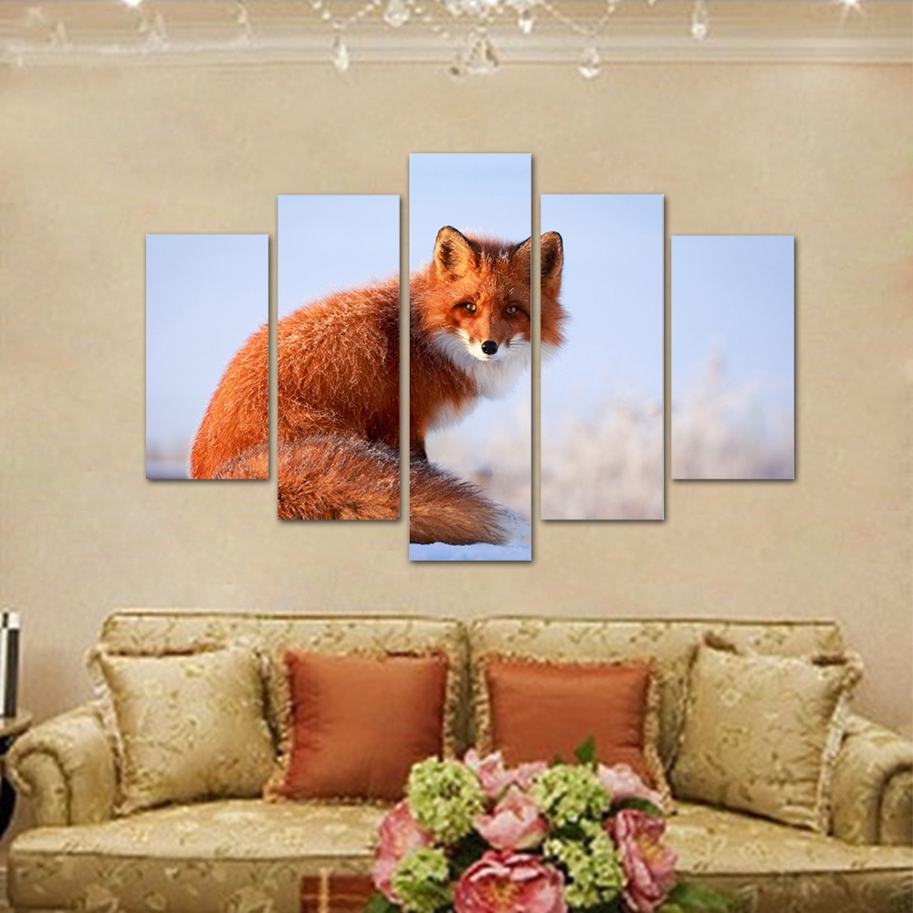 Unframed HD Print 5 Canvas Art Painting Fox Living Room Decoration Spray Painting Mural Unframed Free Shipping