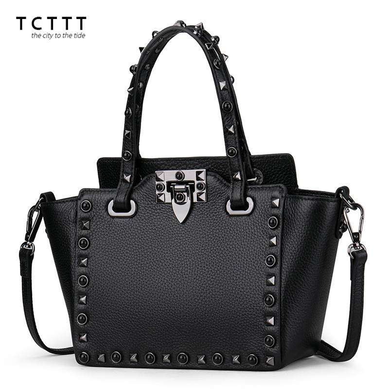 TCTTT Famous brand women crossbody bag Rivet Genuine leather Small shoulder bags Designer Fashion Female Handbag Bolsas Feminina famous messenger bags for women fashion crossbody bags brand designer women shoulder bags bolosa