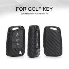 цена на KUKAKEY Car Key Case Cover For Volkswagen VW Golf 7 GTI R MK7 Tiguan Carbon Fiber Car Key Bag Shell Holder Fob Keyring Keychain