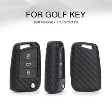 KUKAKEY Car Key Case Cover For Volkswagen VW Golf 7 GTI R MK7 Tiguan Carbon Fiber Car Key Bag Shell Holder Fob Keyring Keychain(China)