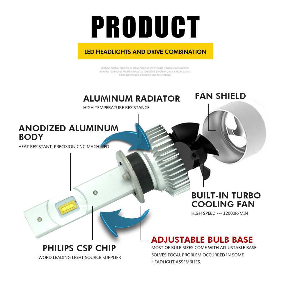 JGAUT Car Light H4 H1 H7 9005 9006 H3 880 H11 H8 H9 12000LM 12V LED Headlight Kit 6500K Bulbs Lamps Conversion Fog Lights Turbo