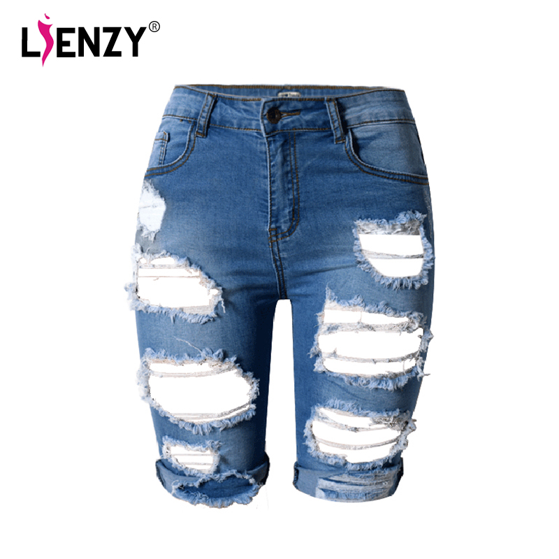 2016 Europe Style Half Ripped Jeans New High Waist Personality Fashion Street Hole  Stretch Pants Slim Torn Femme Denim Shorts new style womens ladies fashion hot celeb stretch ripped skinny high waist denim pants jeans personality wolovey 25