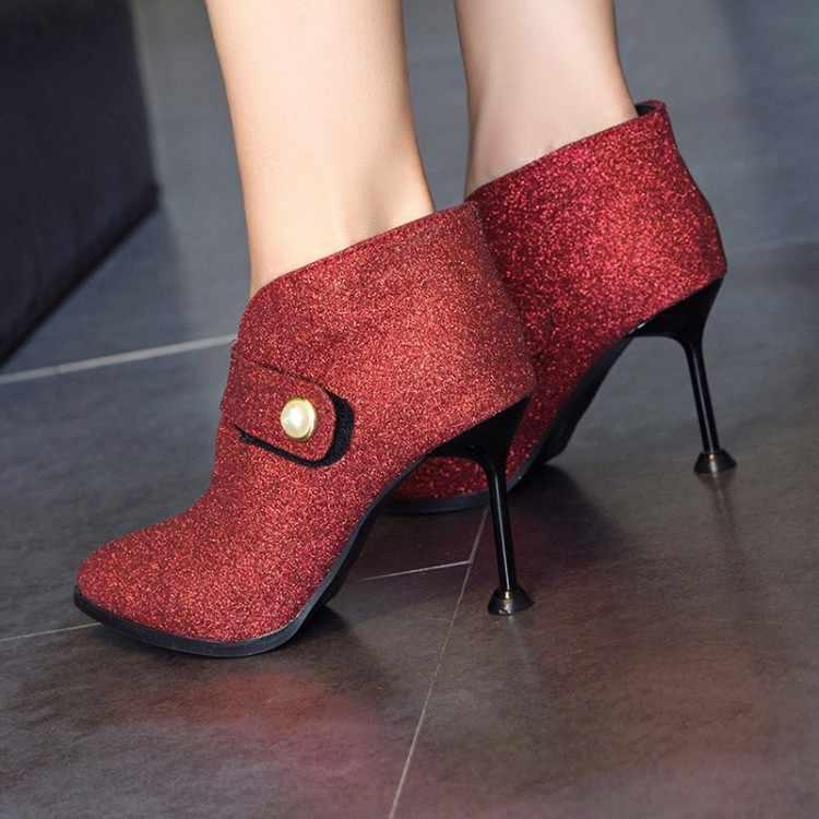 Büyük boy hanımefendi ince topuk kısa çizmeler Sequins sivri moda bot varil yüksek topuk çizmeler
