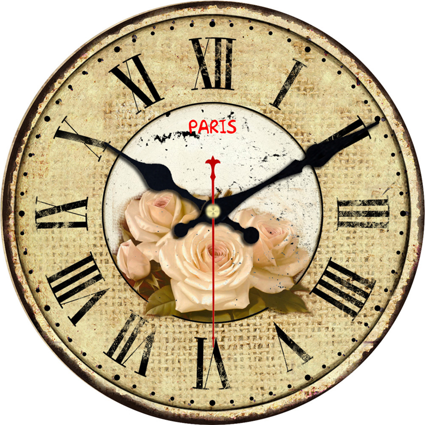 Vintage Round Beautiful Flower Design Wall Clocks Classic Roman Numbers Watches Silent Home Cafe Kitchen Decor Large Wall Clock in Wall Clocks from Home Garden