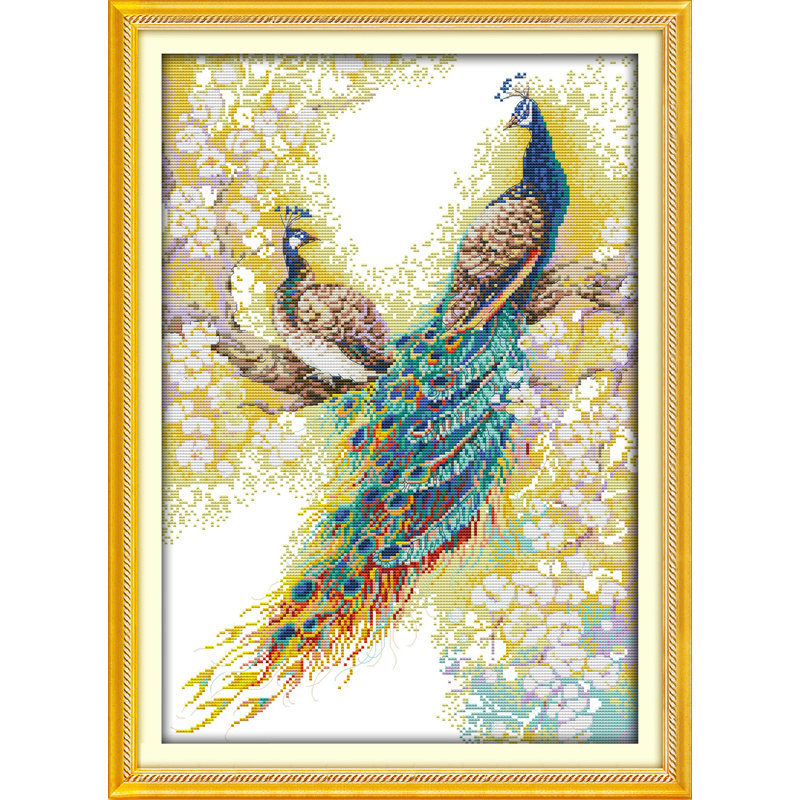 Everlasting love The peacock couples Chinese cross stitch kits Ecological cotton stamped 14CT 11CT DIY gift new year decorations