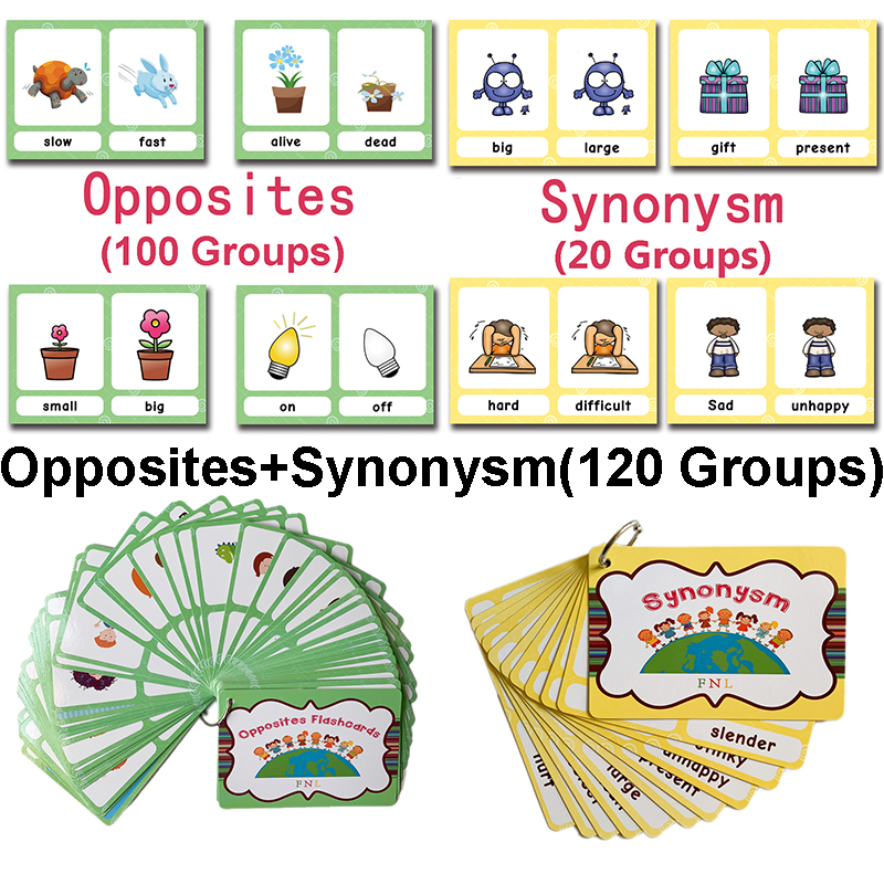 120 Groups Opposites Synonyms English Flashcards Word Picture Card Games For Kids Educational Toys For Children Baby Gifts