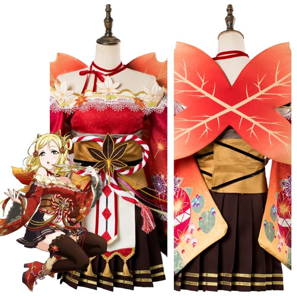 Love Live! Aqours Maple Leafs Mari Ohara Cosplay Costume Kimono Adult Women Halloween Carnival Costume