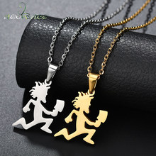 Nextvance Cartoon Running Man with Money Bag Pendant Necklace Stainless Steel Sports Figure Necklaces for Men Jewelry(China)