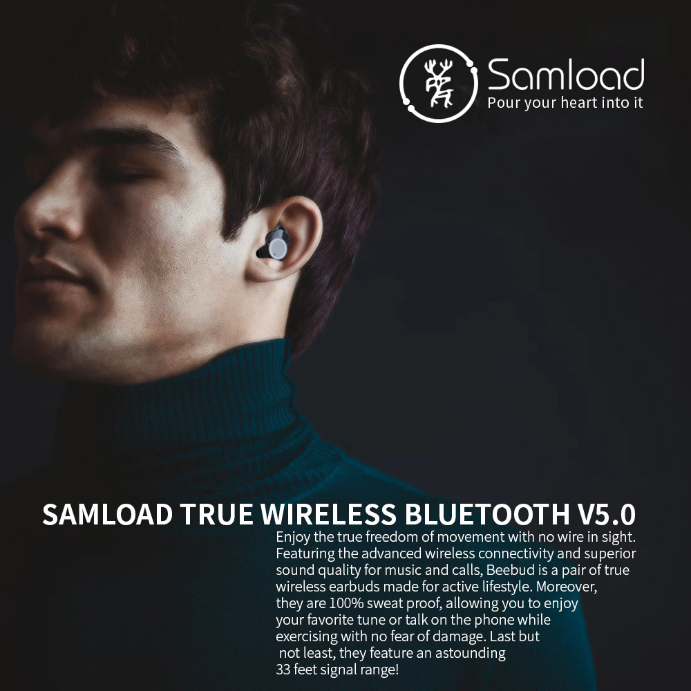 Samload Bluetooth 5.0 Earphone Stereo Wireless Earbud Waterproof Headphones With mic Charging box For Apple iPhone SE 7 8 X Siri-in Bluetooth Earphones & Headphones from Consumer Electronics    2
