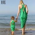 Мать дочь платья 2016 Лето Случайные Семейные Соответствующие Наряды Хлопок Зеленый Рукавов холтер мать и дочь одежда