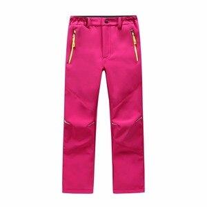 Image 2 - Marca impermeável à prova de vento meninos meninas calças crianças outerwear quente calças de escalada esportiva para 4 14 anos de idade