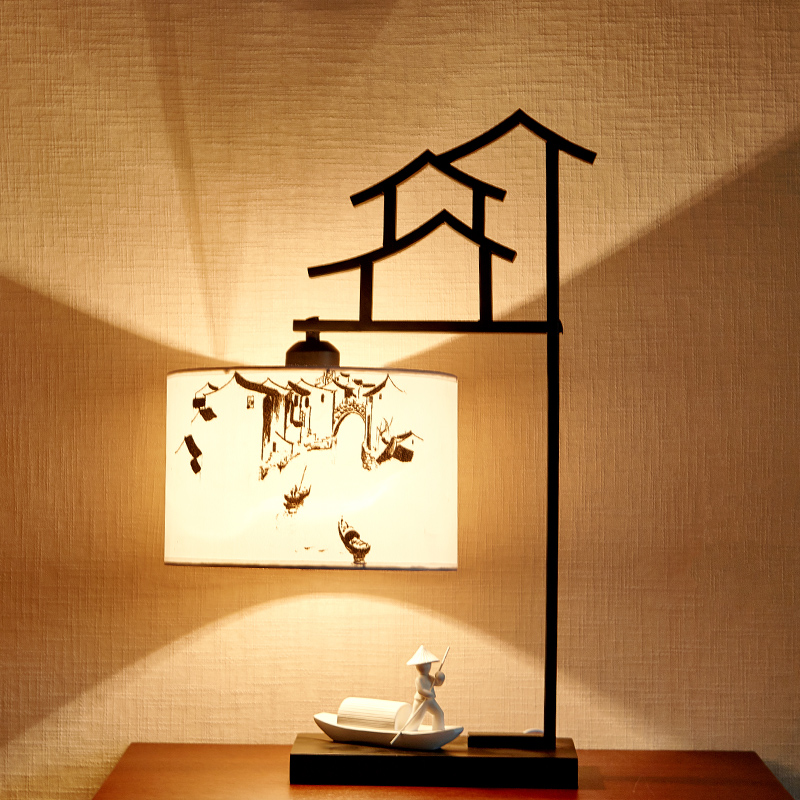Boatman Being Rowed Lamp Bedside Table Lamp Chinese Style Bedroom Table Lamps For Living Room Novelty Desk Lamps table lamps europe style with e27 holder for bedroom living room bedside table lamps desk lamp luminarias decorative lamp shade
