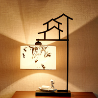 Boatman Being Rowed Lamp Bedside Table Lamp Chinese Style Bedroom Table Lamps For Living Room Novelty Desk Lamps