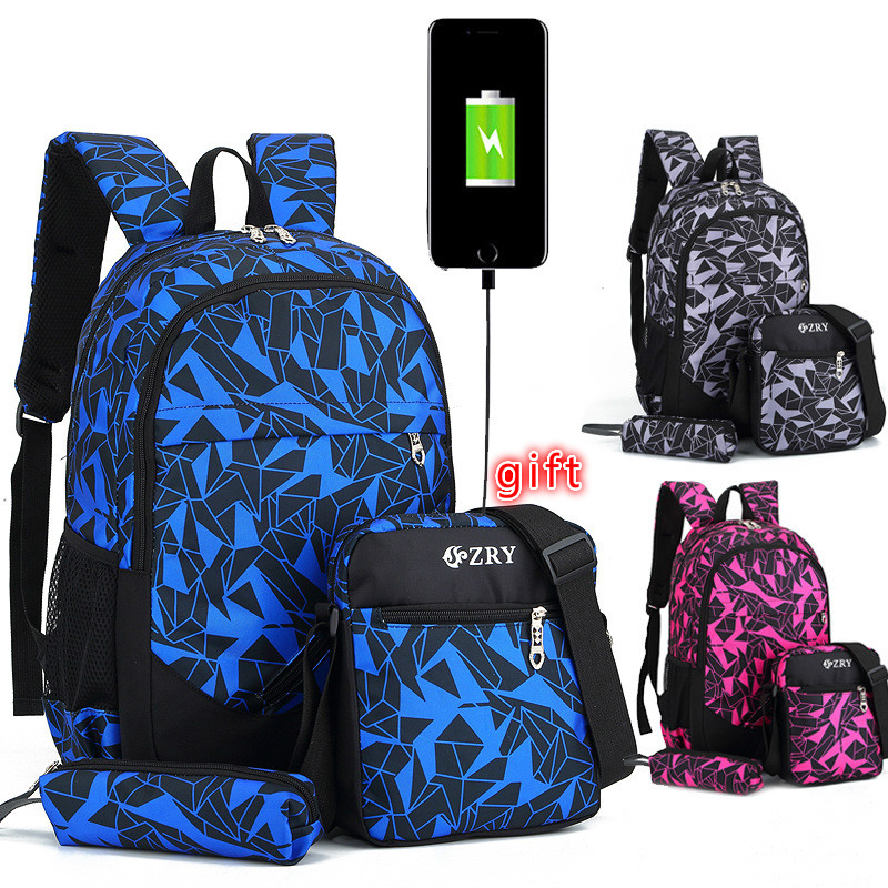 2019 Children School Backpacks Set For Boys Camouflage Travel Knapsack Kids Schoolbags Girls School Bags Kids Pack Backs Mochila