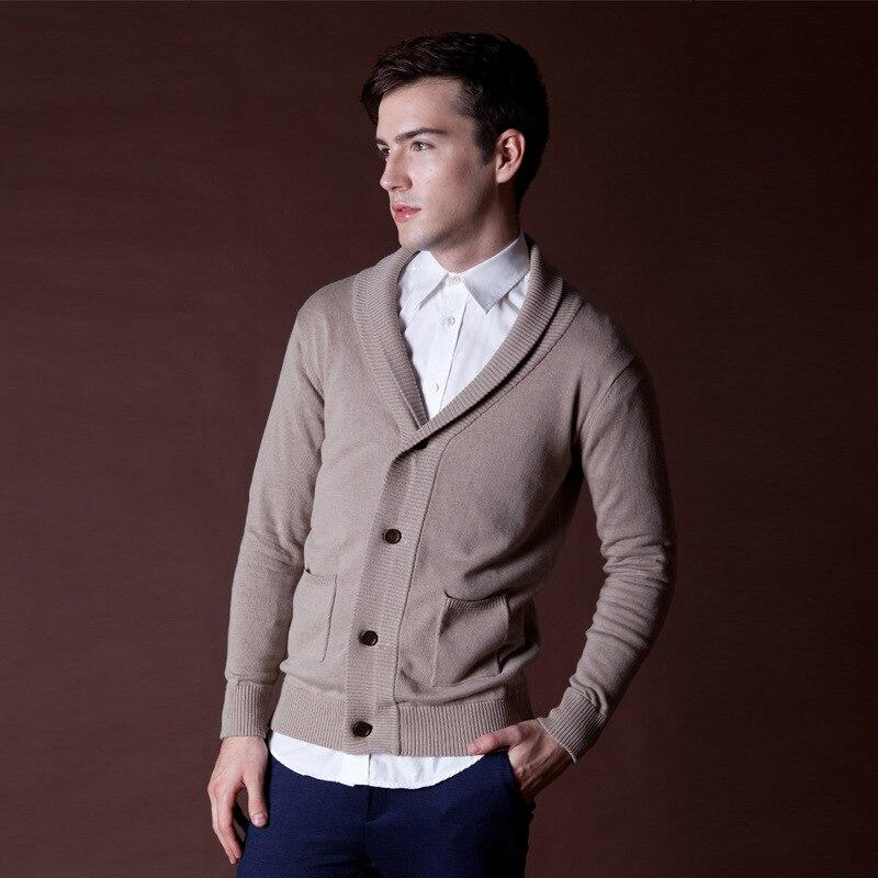 f5644615ec2a4 Vendimia chaqueta de punto jersey e invierno de hombre Cardigans suéter  solapa negro sólido algodón Cardigan de punto del suéter prendas de punto  para ...