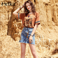 Artka 2018 Summer New Women Bohemian Printing Patchwork Ribbon Vintage Comfortable Casulal Loose Short Sleeved T