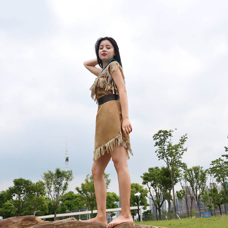 Image 2 - Girls Bueaty Princess Pocahontas Indian Cosplay Costume Halloween Outfit Adult Women gift  Dress Belt Necklace Full set and wig-in Movie & TV costumes from Novelty & Special Use