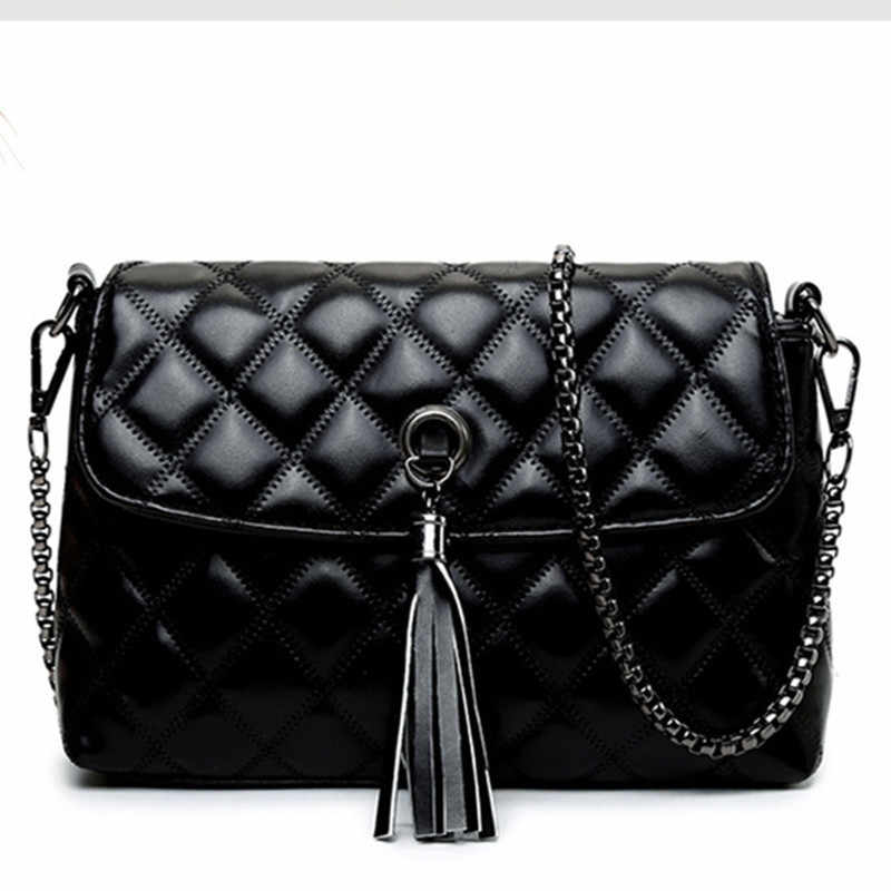 2018 Новая мода кисточкой плеча сумки черный флаг мешок леди классический Messager сумка Crossbody Кошелек покупок и вечерние сумки Causual