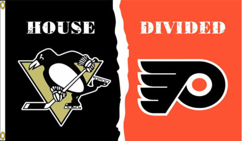 pittsburgh penguins philadelphia flyers house divided hockey indoor outdoor college flag 3 x 5 banner metal holes custom flag in flags
