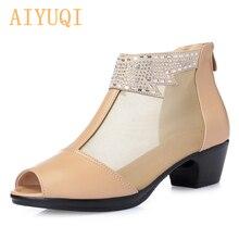 AIYUQI 2019  spring summer genuine leather mesh fish female sandals, with big size 41 42 43 Rhinestone High tube womens shoes