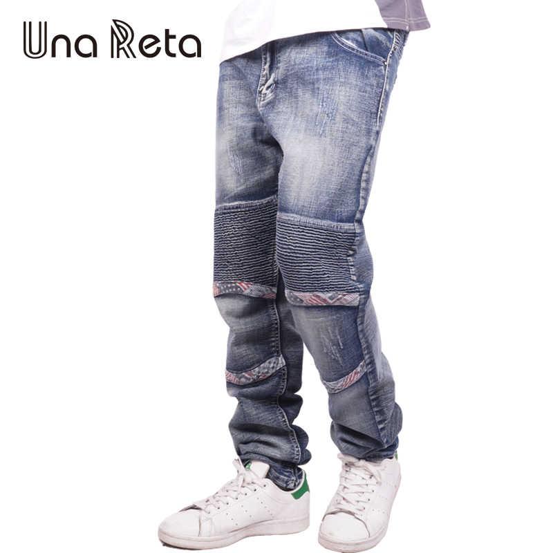 Una Рета Для мужчин модные Брендовая дизайнерская обувь джинсы 2018 Новый Повседневное тонкий Для мужчин Street Стиль Denim Joggers промытый, плиссированный Жан брюки
