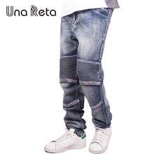 Una Reta Men'S Fashion Brand Designer Jeans 2017 New Casual Slim Men Street Style Denim Joggers Washed Pleated Jean Pants