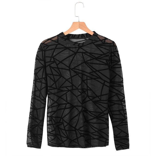 Fashion Sexy Women Ladies top O-Neck Long Sleeve Print Perspective Casual Top Tulle Mesh Black top