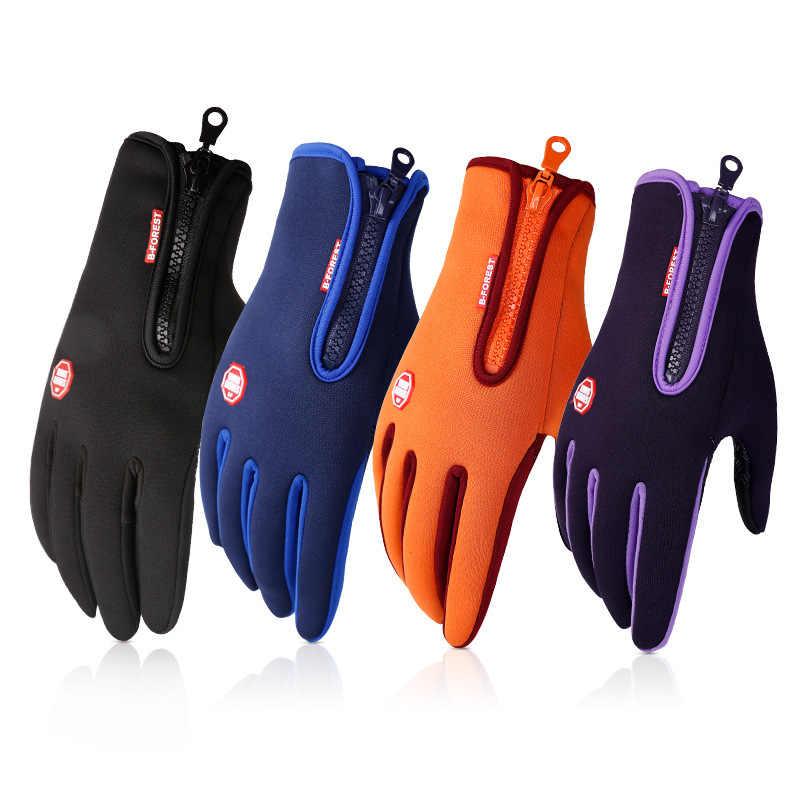 جديد في الهواء الطلق للماء قفازات شاشة لمس الرجال يندبروف ركوب المرأة جميع أنحاء الرياضات الشتوية الدافئة الصوف التزلج قفازات