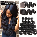 10A Raw Indian Body Wave With Closure 5 pcs Cheap Indian Human Hair Bundles With Closure Queen Indian Virgin Hair With Closure