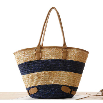 Striped Ladies Beach Bag Rattan Handbags Woven Handmade Straw Large Wicker Bag Totes Bali Women's Shoulder Bags W302