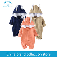 Playful100 Newborn Baby Long Sleeves Jumpsuit Climb Autumn Zipper Style Rabbit Ear Hat Boys Girls