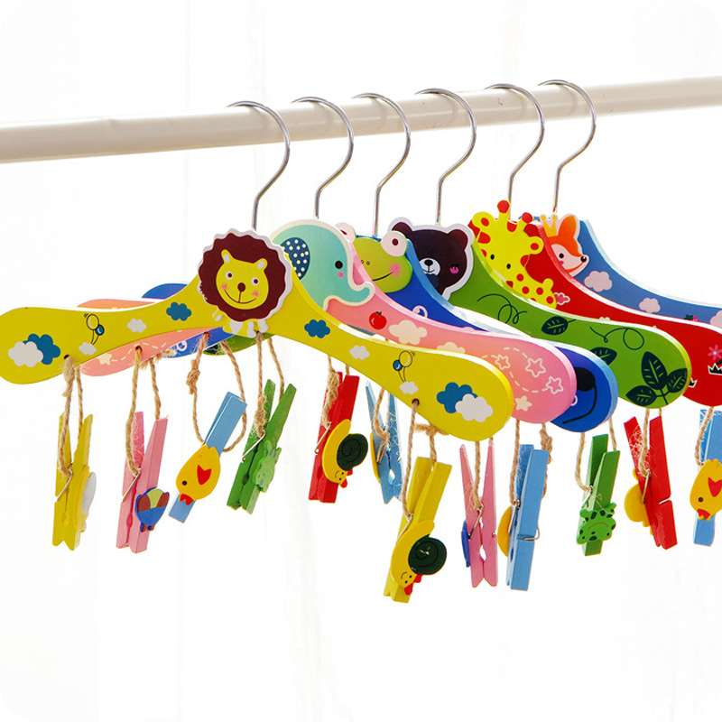 28cm Baby Hangers for Clothes Wooden Animal Cartoon Children Kids Slip-resistant Clothin ...