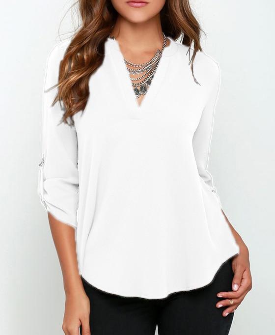 Women Fashion Casual   Blouse   Plus size 4xl 5xl White Black Chiffon Womens Loose Long Sleeve Ladies Office   Blouse     Shirt   Tops
