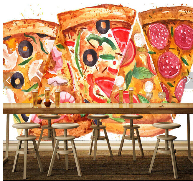 Custom photo wallpaper pizza murals for the living room for Cafe mural wallpaper