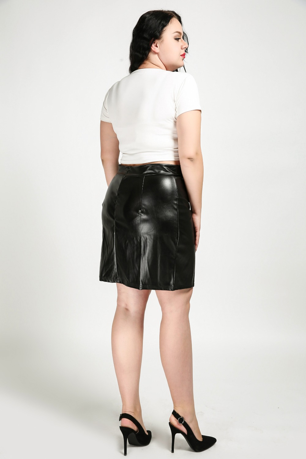women's sexy plus size faux leather skirt black knee length cocktail