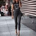 Simplee Sexy dünne denim jeans frauen Hohe taille tasten falten streetwear hosen capris Sommer mode weibliche grau bleistift jeans-in Jeans aus Damenbekleidung bei
