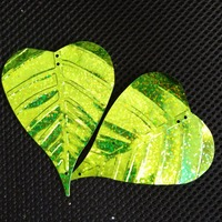 wholesale 70x90mm heart Leaf sequins for craft and decoration, hologram lime green