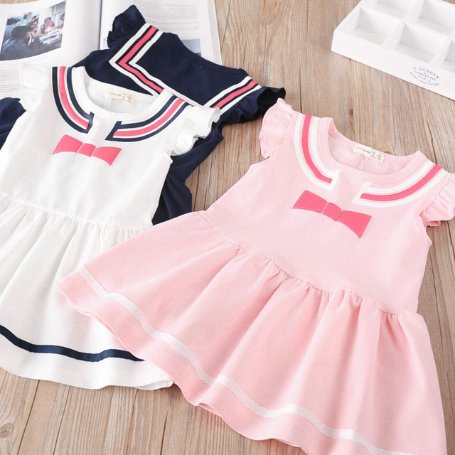 Baby Girl Dress 2018 Fashion Navy Style Baby Clothes Fly Sleeve