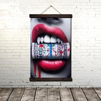 Blood Money Red Lips Scroll Painting Canvas Vintage Poster and Print Wall Art Pictures Living Room Bedroom Decoration