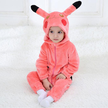 Infant Pikachu Cosplay Kigurumi Romper Baby Girls Jumpsuit New born Clothing Hooded Toddler Animal Cute Bebe Costume
