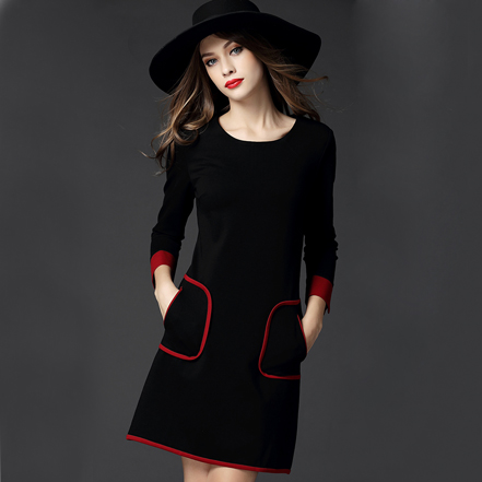 7e9ed7f5371 2016 Primavera Otoño Invierno Nueva Moda Vestidos Mujer Casual Elegante  Manga Larga de Oficina Profesional Negro