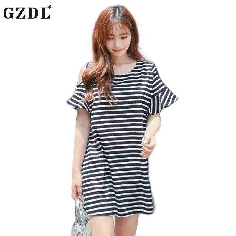 bb67e547d Gzdl wiggle manga de las colmenas del o-cuello con cremallera de rayas de  moda de las mujeres vestidos de playa del hombro desgaste flojo ocasional  vestidos ...