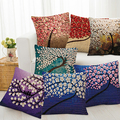 Fashion Flower Life Tree Paint Linen Pillow Case Throw Home